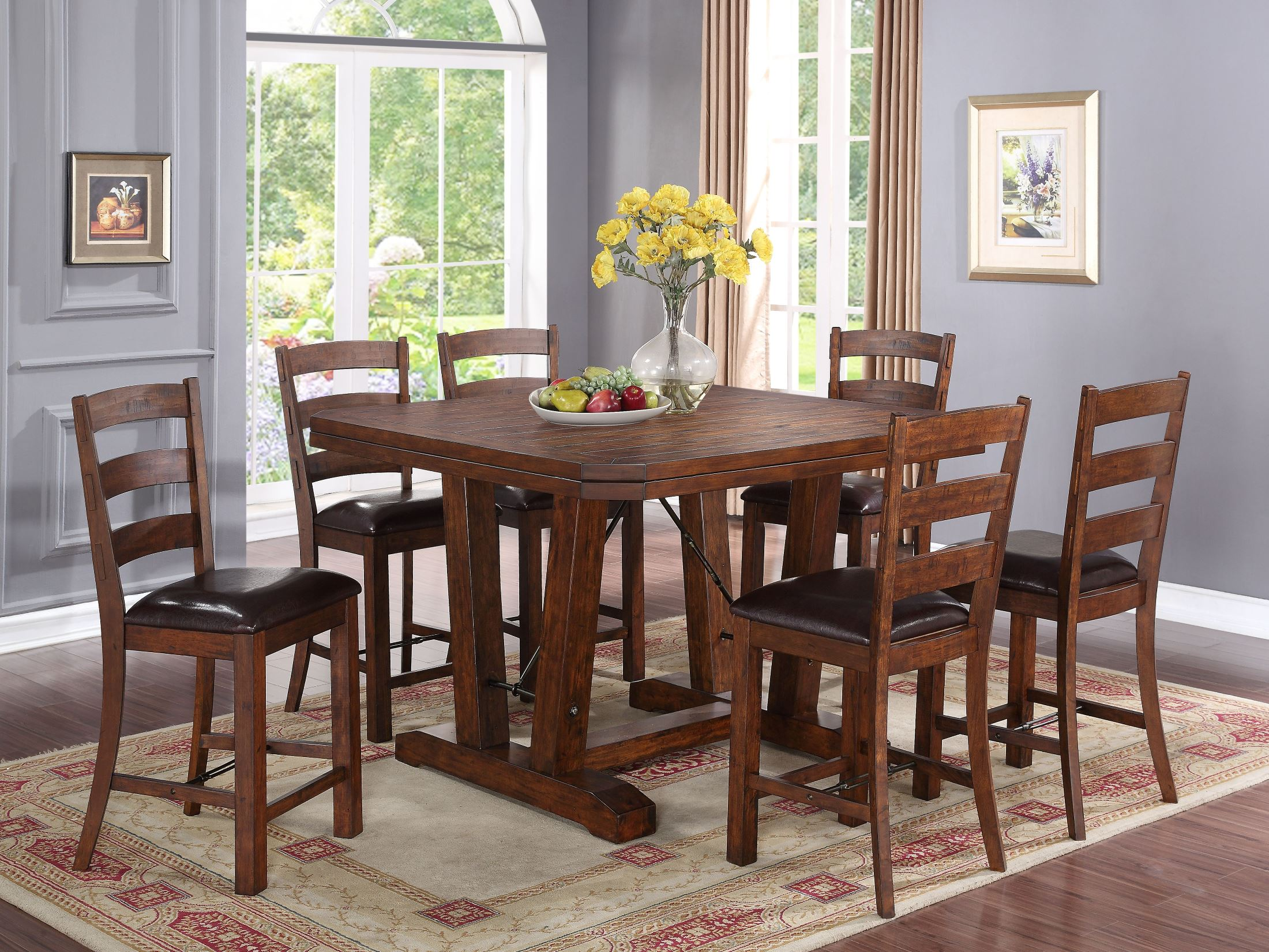 lanesboro distressed walnut counter height dining room set by new