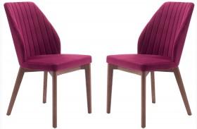Vaz Red Finish Velvet Dining Chair Set of 2