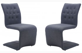 Hyper Dark Gray Finish Dining Chair Set of 2