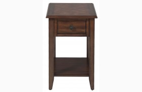 Medium Brown Finish Chairside Table