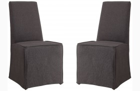 Galloway Gray Finish Upholstered Side Chair Set of 2