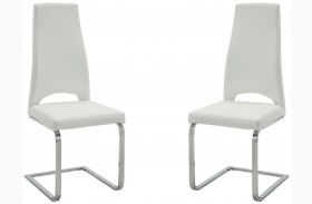 Augustin White and Chrome Finish Side Chair Set of 2