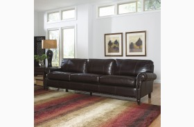 Stockton Dark Chocolate Finish Leather Sofa