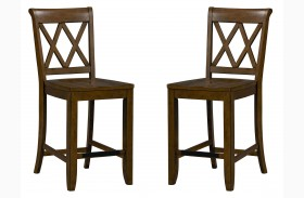 Vintage Sienna Brown Counter Height Stool Set of 2