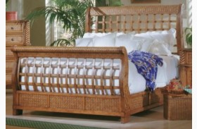 Palm Court Island Pine Sleigh Bed