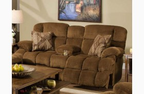 Concord Pecan Reclining Loveseat with Console