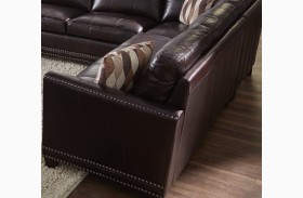 Bozeman Dark Chocolate Finish Vintage Leather RAF Loveseat
