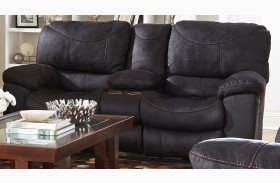 Terrance Black Finish Reclining Console Loveseat