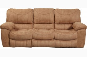 Terrance Caramel Finish Reclining Sofa