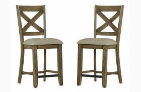 Omaha Weathered Burnished Grey Counter Height Barstool Set of 2