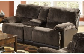 Escalade Chocolate Reclining Loveseat with Console