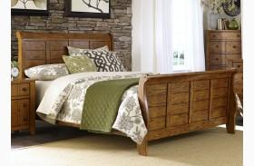Grandpa's Cabin Aged Oak Sleigh Bed