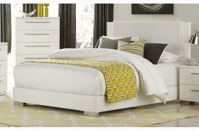 Linnea White High Gloss Vinyl Platform Bed