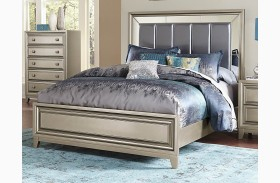 Hedy Silver Vinyl Panel Bed