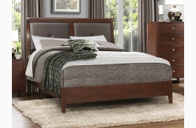 Cullen Brown Cherry Vinyl Platform Bed