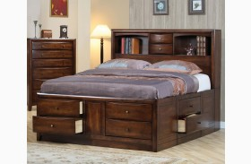 Hillary Walnut Bookcase Storage Bed