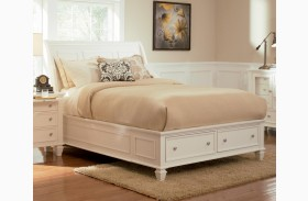Sandy Beach White Sleigh Storage Bed