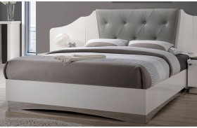 Alessandro Glossy White Finish Platform Bed