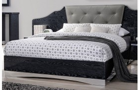 Alessandro Glossy Black Finish Platform Bed