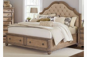 Ilana Antique Linen Panel Storage Bed