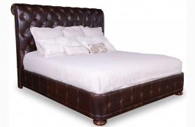 Whiskey Barrel Oak Upholstered Platform Bed