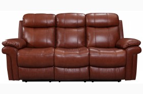Shae Joplin Saddle Finish Leather Reclining Sofa