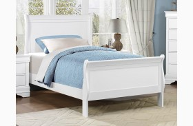 Mayville Burnished White Youth Sleigh Bed