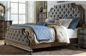 Tuscan Valley Weathered Oak Upholstered Panel Bed
