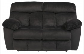 Saul Black Finish Reclining Loveseat