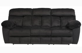 Saul Black Finish Reclining Sofa