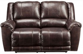 Yancy Walnut Finish Reclining Loveseat