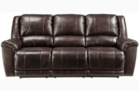 Yancy Walnut Finish Reclining Sofa