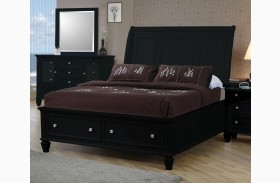Sandy Beach Black Sleigh Storage Bed