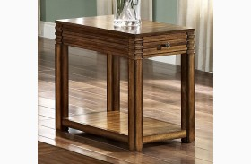 Parquet Burnished Walnut Chair Side Table