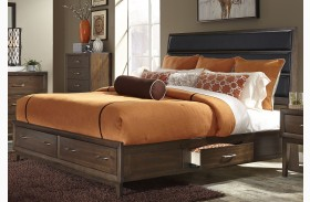 Hudson Square Espresso Upholstered Storage Platform Bed