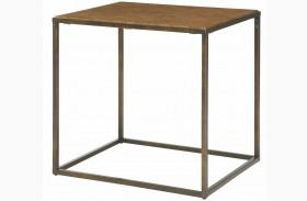 Soho Khaki Travertine End Table
