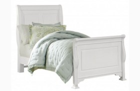 French Market Soft White Youth Sleigh Bed