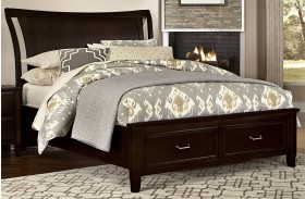 Commentary Merlot Benchback Panel Storage Bed