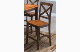 Latitudes Ginger/African Chestnut Finish X Back Counter Chair