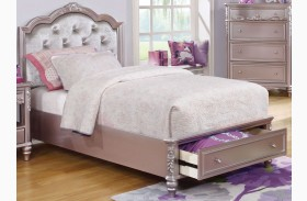 Caroline Metallic Lilac Youth Storage Platform Bed
