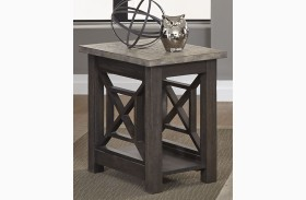 Heatherbrook Charcoal Finish Chair Side Table