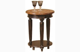 Country Vista Black and Golden Finish Round End Table