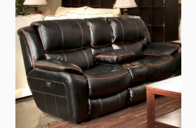 Beckett Black Finish Reclining Console Loveseat