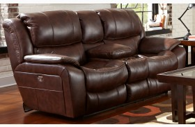 Beckett Java Finish Reclining Console Loveseat