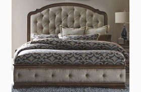 Amelia Antique Toffee Upholstered Mansion Bed