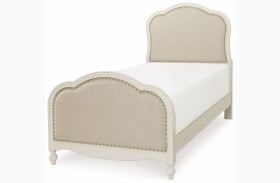 Harmony Antique Linen White Youth Victoria Upholstered Panel Bed