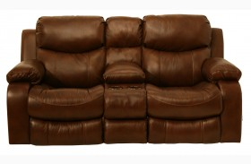 Dallas Tobacco Reclining Loveseat with Console