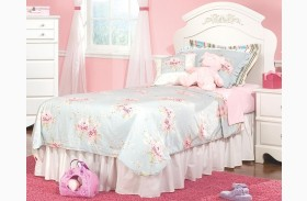 Spring Rose Soft White Youth Panel Bed