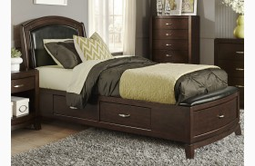 Avalon Truffle Youth One Sided Leather Storage Bed