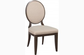 Grantham Hall Deep Coffee Finish Upholstered Dining Side Chair With Decorative Back